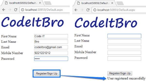 How to create ASP NET Registration Form Using C# and SQL