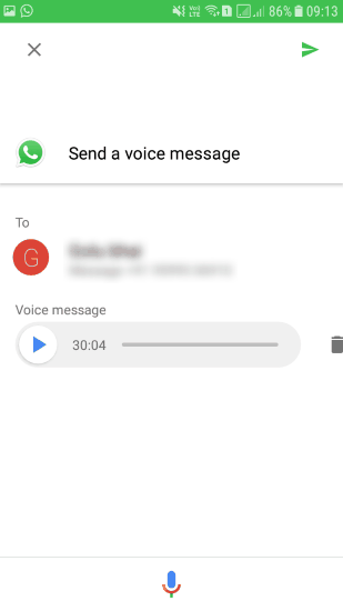 command to send whatsapp voice message by google assistant