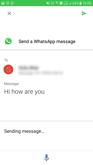 google assistant sending whatsapp text message to a contact