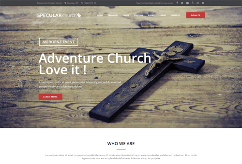 Specular Church WordPress Theme