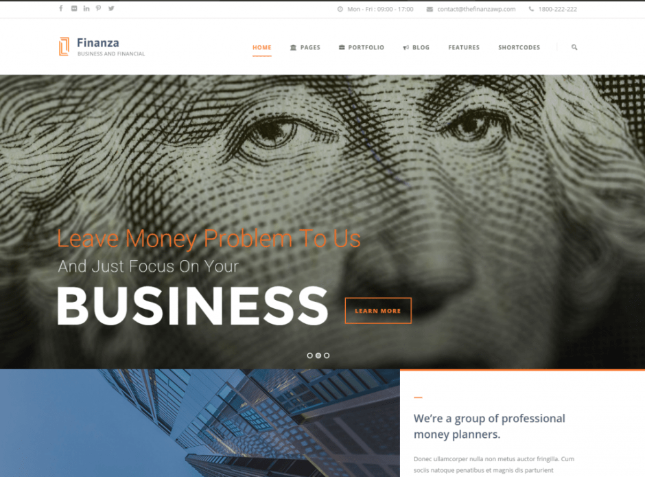 Finanza - Business & Financial WordPress Theme