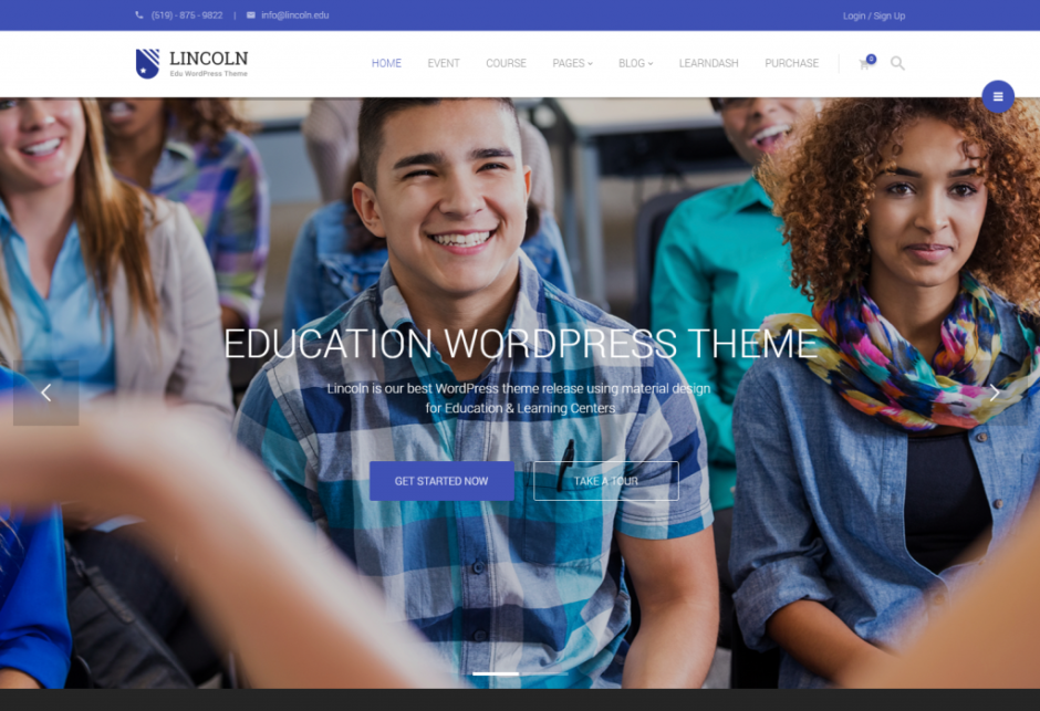 Homepage 1 – Lincoln – Best WordPress Education Theme