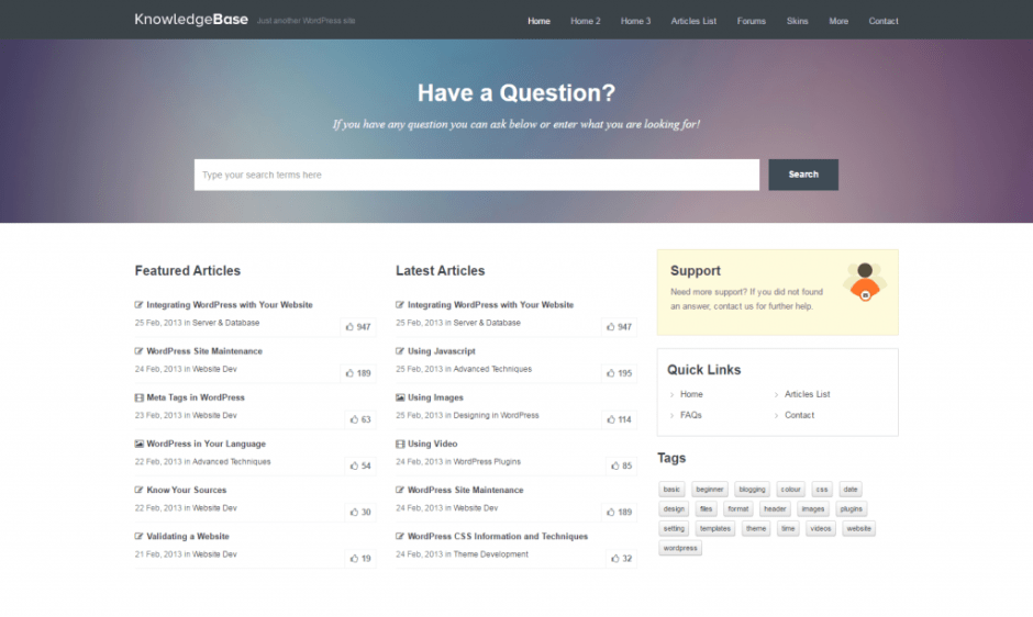 Knowledge Base Theme – Just another WordPress site