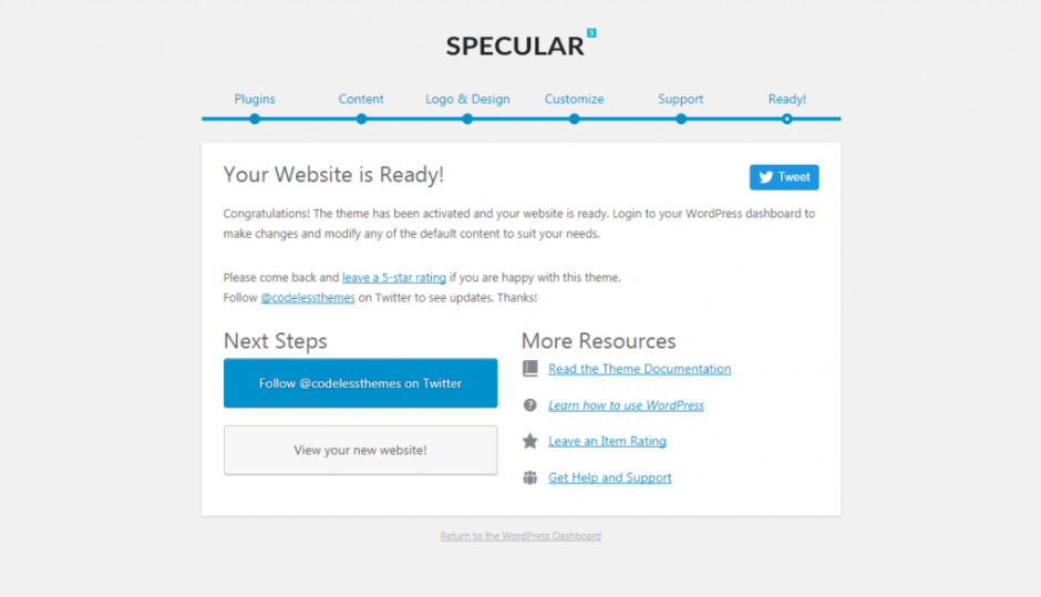 localhost Specular_ wp admin themes.php page specular setup step next_steps
