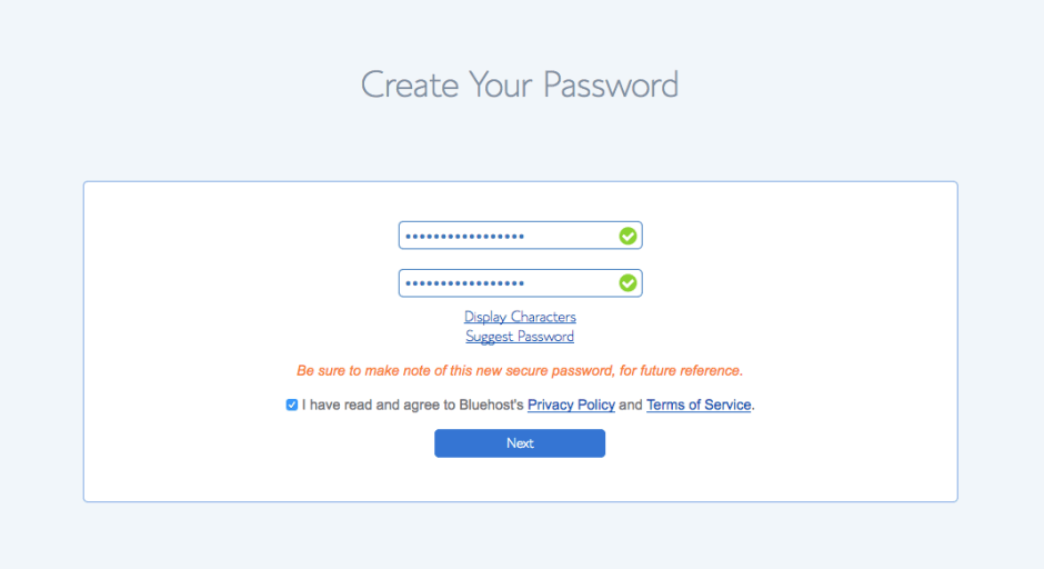 Bluehost create password