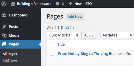 WordPress pages screen