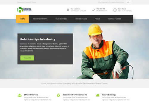 Handel Construction WordPress Theme
