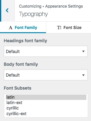 customizer typography