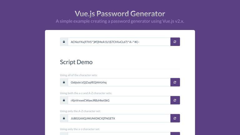 Password Generator Using Vue.js v2