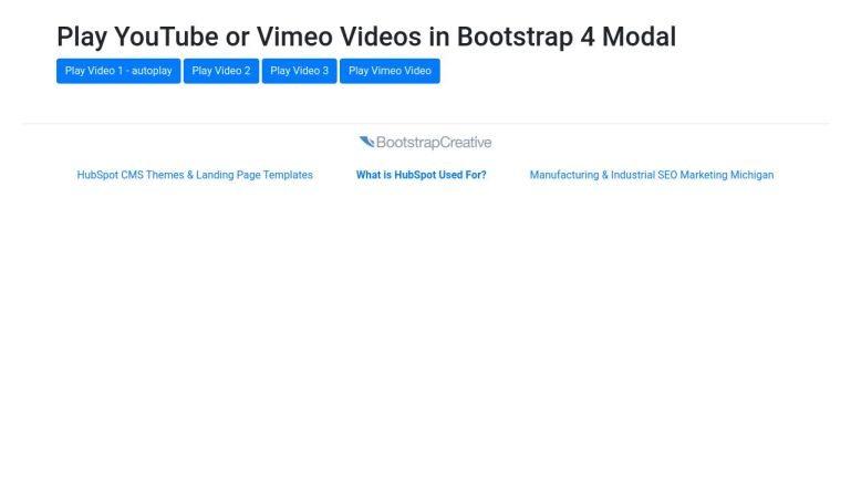 Play YouTube or Vimeo Video in Modal - Bootstrap 4