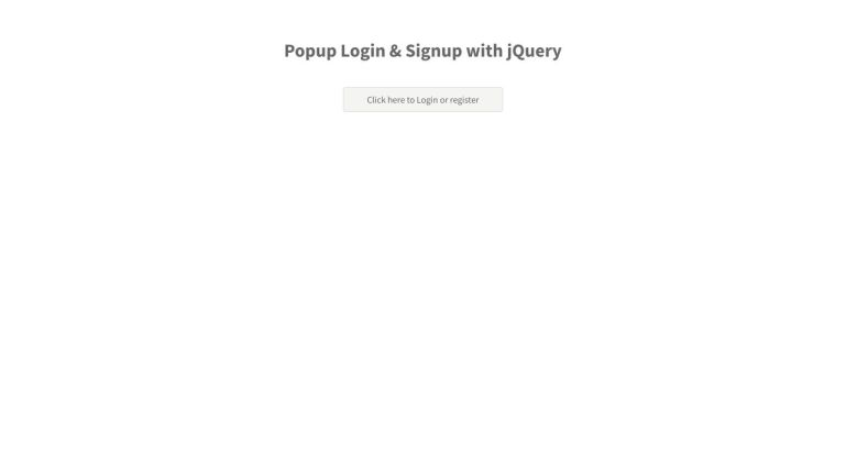 Popup Login & Signup with jQuery