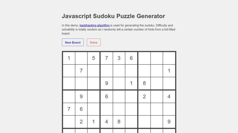 Javascript Sudoku Puzzle Generator
