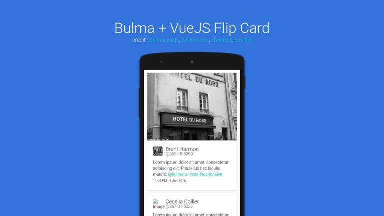 Bulma + Vuejs Flip Card