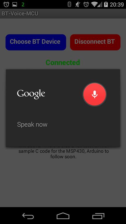 MSP430 Voice Control Over Bluetooth HC06 module