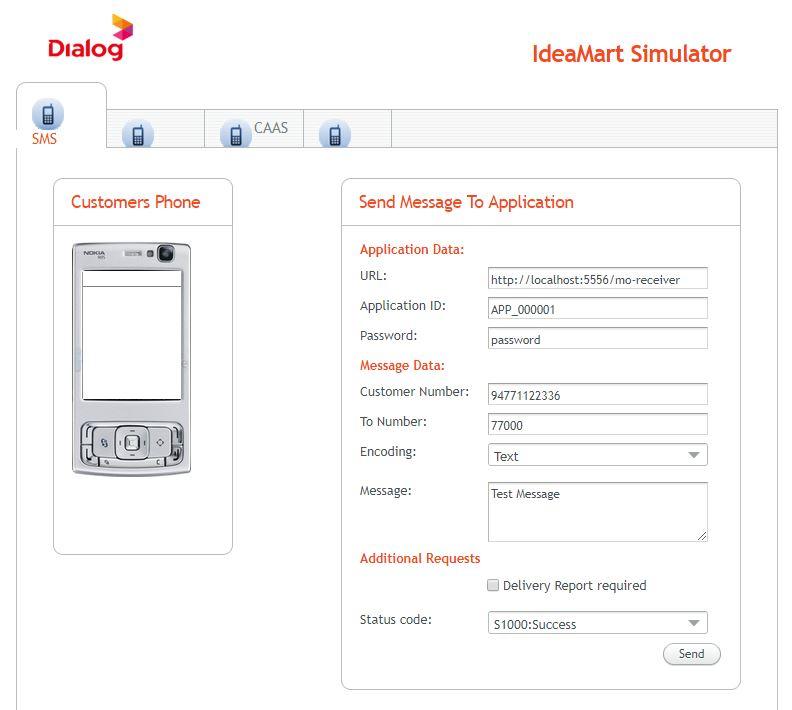 Ideamart Simulator User Interface