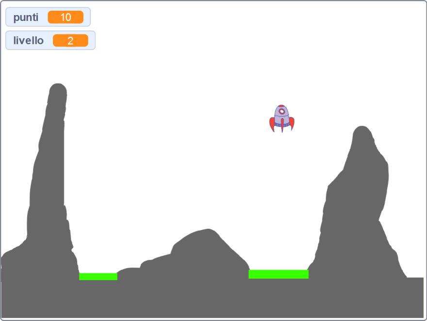 Screenshot del gioco sull'Atterraggio - Scratch Landing