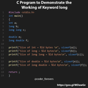 C Program to Demonstrate the Working of Keyword long