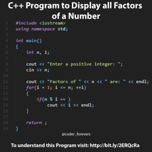 C++ Program to Display Factors of a Number