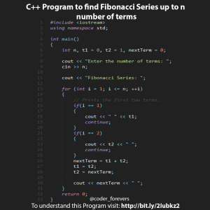 Program to find Fibonacci Series up to n number of terms