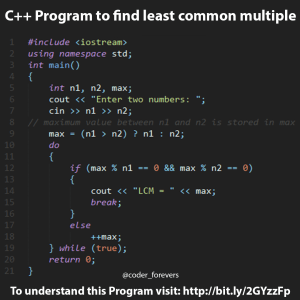 C++ Program to find least common multiple