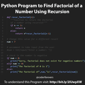 Find Factorial of a Number Using Recursion