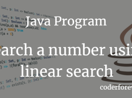 Java Program to search a number using linear search