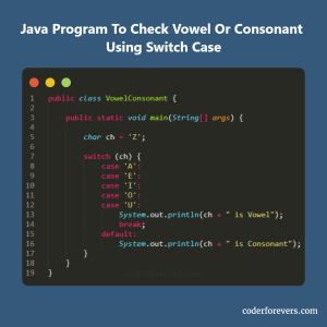 Java Program to check Vowel or Consonant using Switch Case