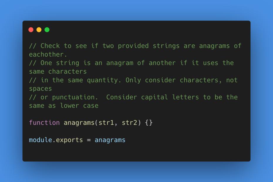 Javascript code describing string anagram problem