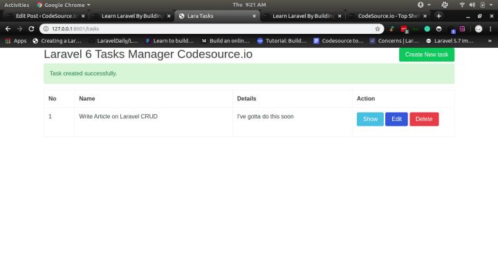 Tasks Manager Application with Laravel