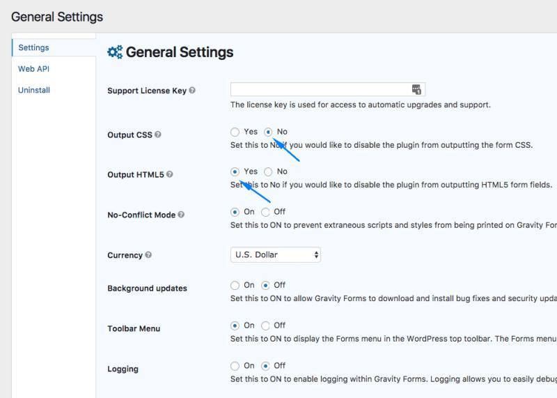 Thiết lập không output CSS, và bật HTML5 trong Gravity Forms