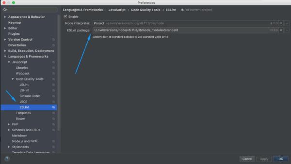 Cấu hình package Standard.js trong  PhpStorm