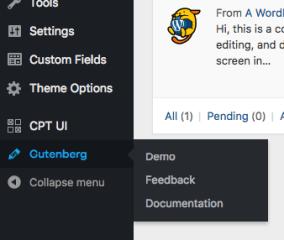 Menu Gutenberg trong WordPress