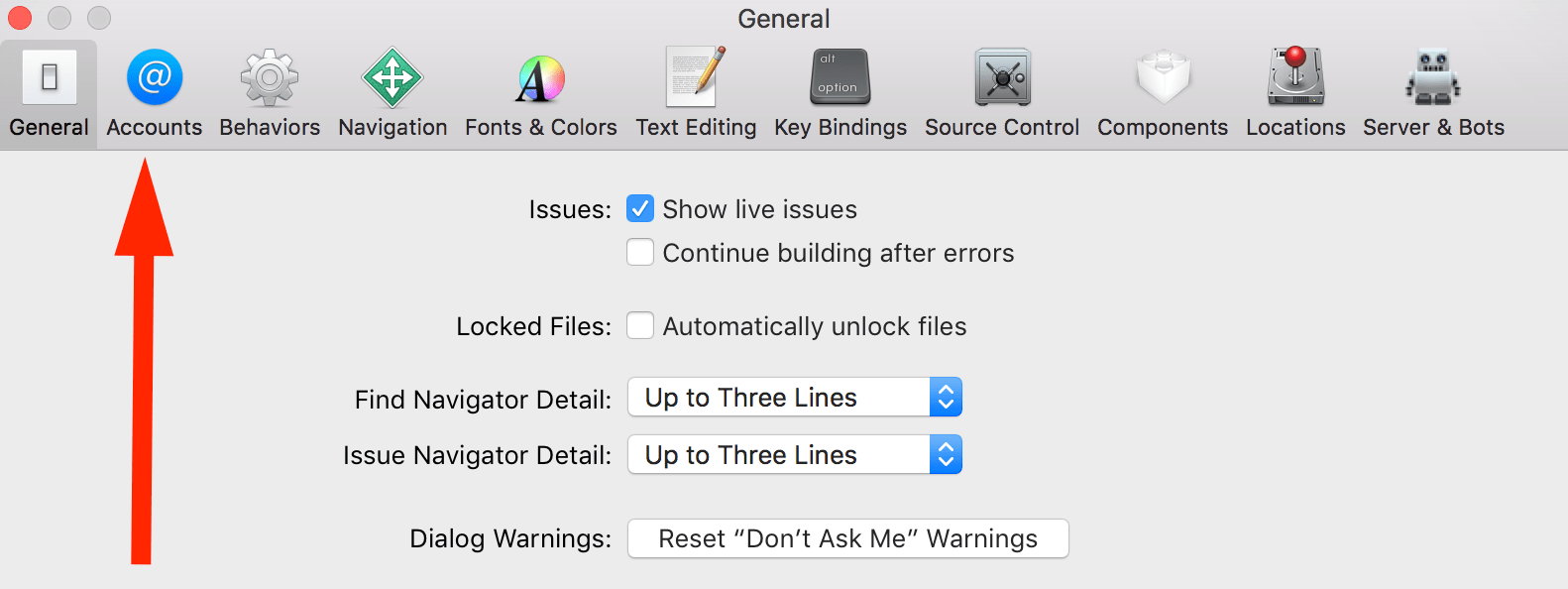 Step 2 - Accounts in Xcode