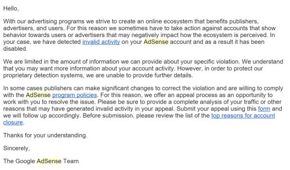 Adsense suspension letter