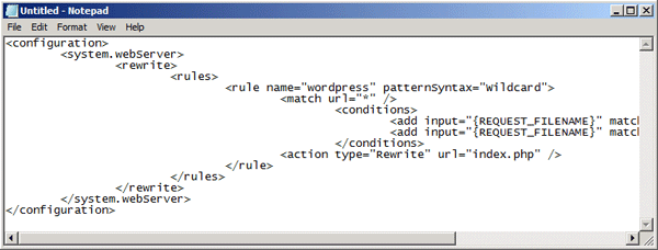 Web.config file contents
