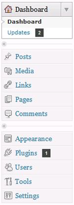 WordPress dashboard menu