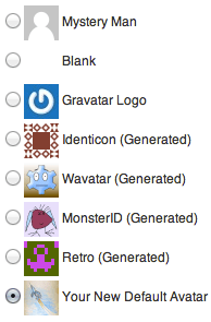 Select Your New Default Avatar