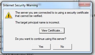 Acepta el certificado (click en Yes)