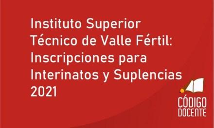 Instituto Superior Técnico de Valle Fértil: Inscripciones para Interinatos y Suplencias 2021