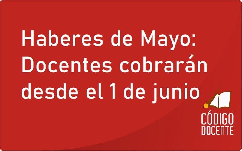 <h6>Pago a Docentes</h6><h1>Haberes de Mayo: Docentes cobrarán desde el 1 de junio</h1>