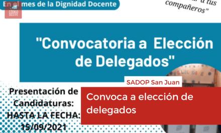 SADOP: Convoca a elección de delegados