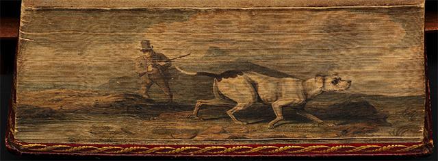 Hombre cazando con un perro, en Una historia general de los cuadrúpedos de Thomas Bewick