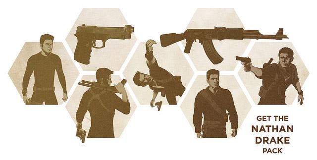 El Nathan Drake Pack incluye trajes alternativos para Drake y dos armas.