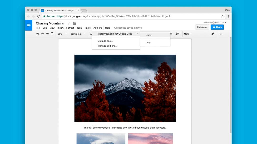 WordPress para Google Docs te permite editar y publicar inmediatamente en tu blog