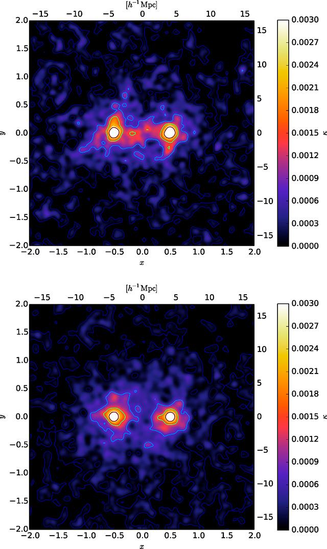 Imágenes que muestran cómo la materia oscura une a las galaxias.