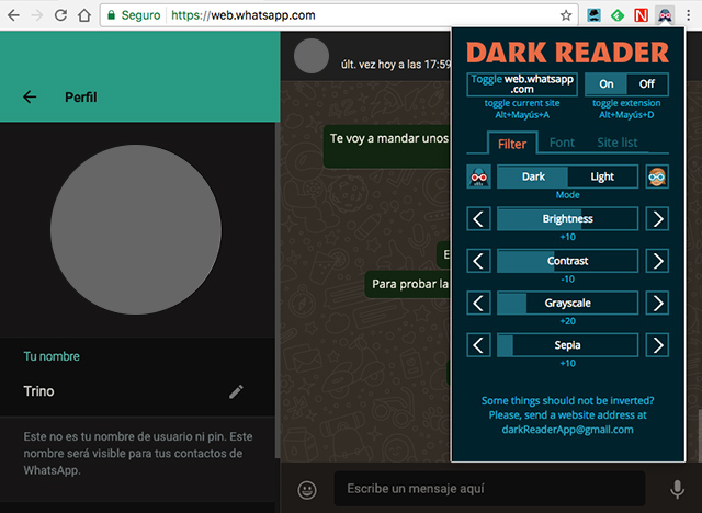 La extensión Dark Reader en Chrome