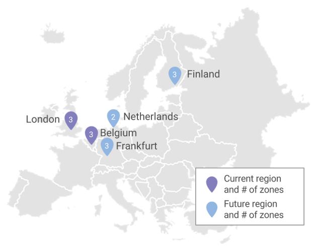 Google ya planea nuevas regiones en Francfort, Holanda y Finlandia.