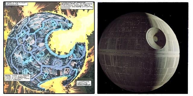 La Estrella de la Muerte de Lucas y las similitudes que tiene con el planeta Apokolips, son más que obvias.