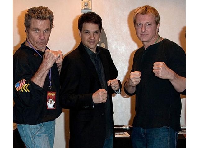 Martin Kove, Ralph Macchio y William Zabka en 2014