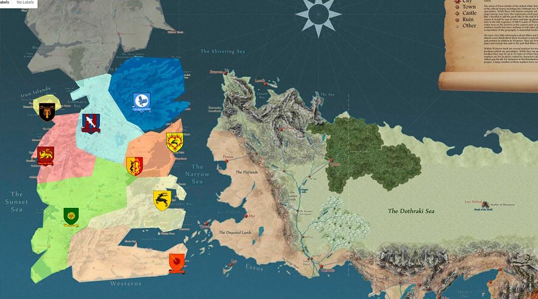 Este mapa interactivo muestra el viaje de personajes de Game of Thrones